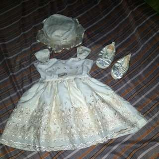Baby Girl Christening Outfit (Dress, Shoes and Cap)