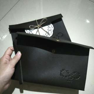 Pouch Brown Leather Sintetis
