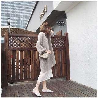 免運❤️韓版寬鬆顯瘦中長版圓領針織毛衣裙加厚款+加購蕾絲裙$100