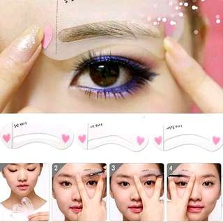 Free NM+SPONGE*3 Types Exquisite Eyebrow Stencil Grooming Shaping Kit Template Make-up Tool