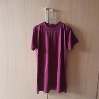 Burgundy basic dress