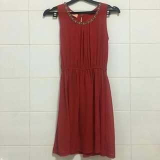 mini dress merah no sleeve