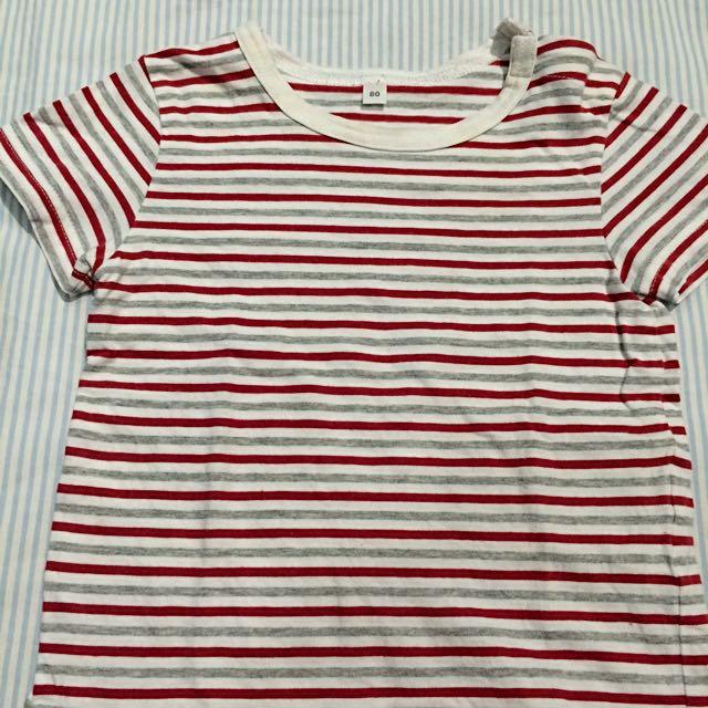 無印良品條紋短袖上衣(適合12-18m/80)