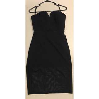 NEW black strapless cocktail dress with mesh cutouts