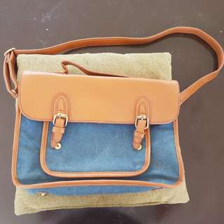Satchel (blue and brown)