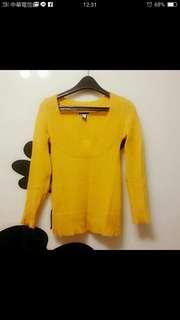 🚚 Mango黃針織毛衣 #旺旺一路發