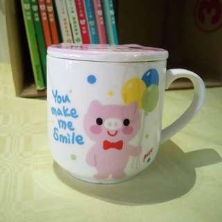 🚚 【全新】小豬馬克杯(附杯蓋)