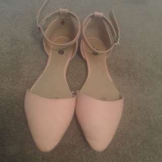 Nude Pink Almond Toe Flats Size 7