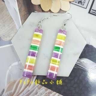 《PoPo飾品》耳環 手作款*彩色條紋糖果棒(紫)#可改耳針/耳夾