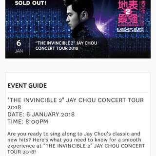 Jay Chou 6Jan2018 concert tix x1