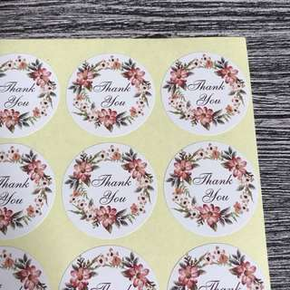 (Free Postage) 80 Thank You Stickers - Thank You Label