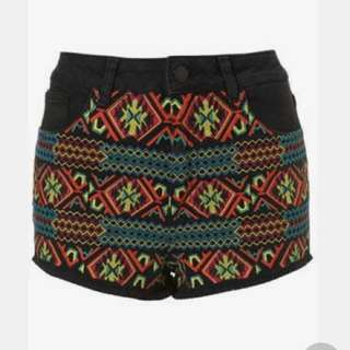 💯 Authentic Topshop Tribal Jeans Shorts