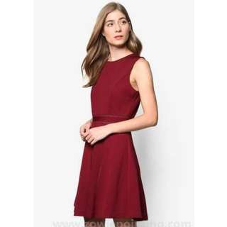 (BN) ZALORA Collection Trim Insert Fit & Flare Dress in Burgundy (Size S)