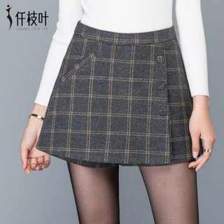 Checker Woolen Highwaist Wrap Around Skirt Shorts