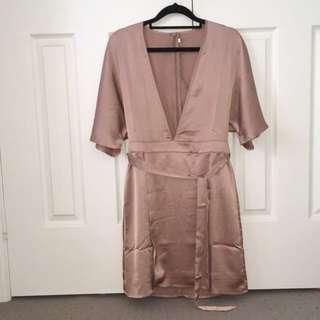 Low v-neck satin dress