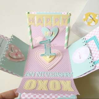 Happy 1st Anniversary Explosion Box Card in Pastel theme