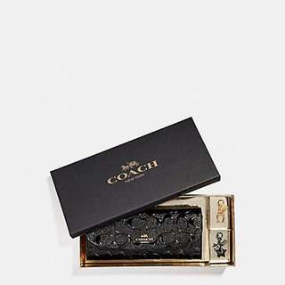 Coach Black Boxed Soft Wallet with Charms