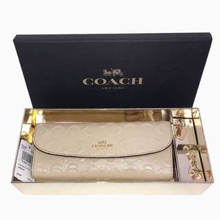 Coach Beige Boxed Soft wallet with Charms