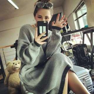 日系長款過膝加厚套頭大碼毛衣女裝休閒寬鬆針織連身裙長洋裝