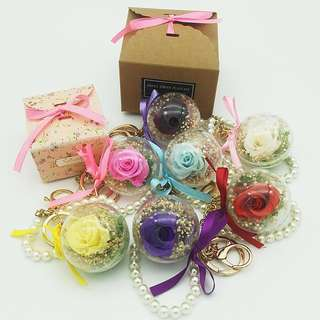 Real preserved rose keychains