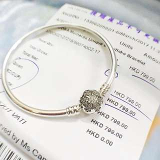 With receipt Pandora limited edition snowflake bangle with receipt