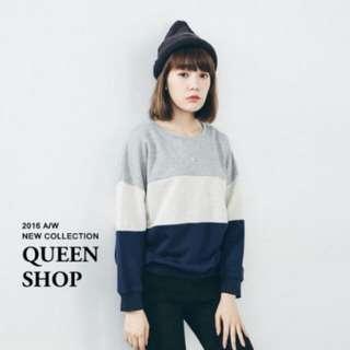 🚚 <八成新> Queen Shop 拼接大學T