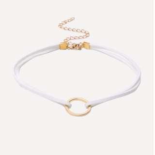 White Minimalist Geometric Choker Necklace