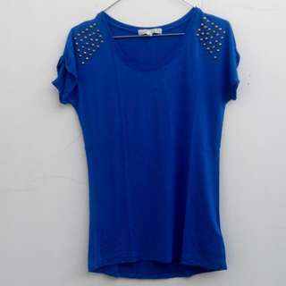 F21 Gold Electric Blue Basic Kaos