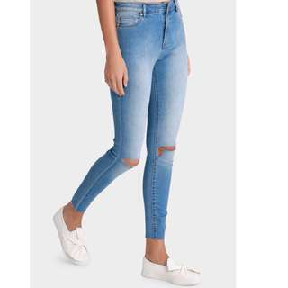 Miss Shop Ripped Knee High-Waisted Skinny Jeans