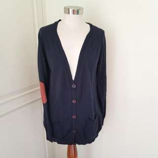 ASOS Navy Blue Cardigan with Elbow Patch - medium m uk10 us6