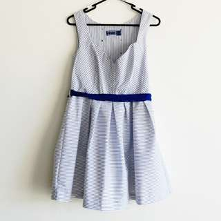 Blue and White Stripe Size 12 Dress Sailor-esq with Buttons Ribbon Belt and Petticoat