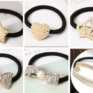 韓風 韓版 水鑽 珍珠 氣質髮圈 閃亮髮飾 現貨+預購
