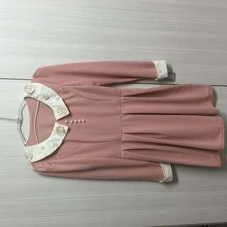 氣質粉色洋裝[#冬季衣櫃出清]