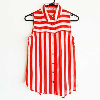 Blouse Size 8 Red and White Stripe Sheer Button-up