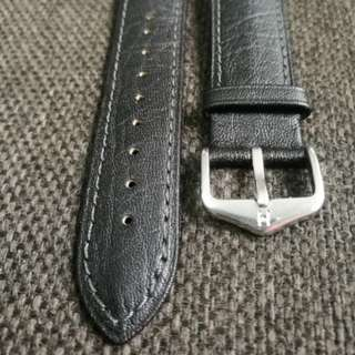 Hirsch 20mm black leather strap