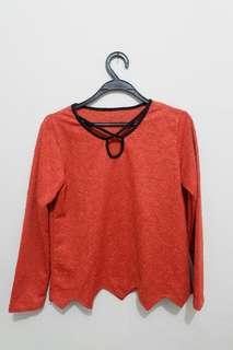 Flowery orange top