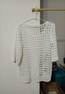 正韓 鏤空白色長版針織