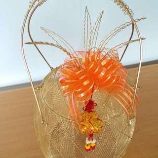 Pineapple Shape Golden Metal Basket