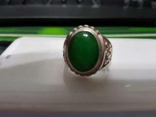 Grade B silver jade ring
