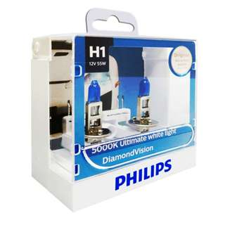 Philips H1 Diamond Vision White Light Bulbs, Pair