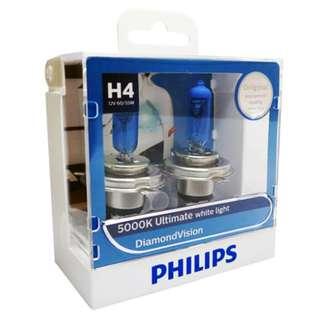 Philips H4 Diamond Vision White Light Bulbs, Pair