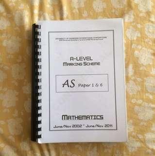 A-Level Mathematics AS Paper 1 & 6 Marking Scheme