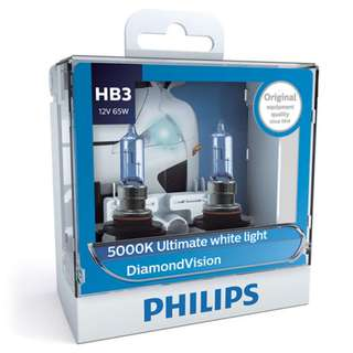 Philips HB3 9005 Diamond Vision White Light Bulbs, Pair
