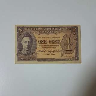 1941 Malaya King George VI One Cent Banknote