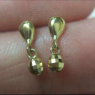 日本製 純18K金 感嘆號迷你耳釘    Made In Japan  100% Real 18K Yellow Gold Mini Size Stud Earring