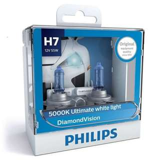 Philips H7 Diamond Vision White Light Bulbs, Pair