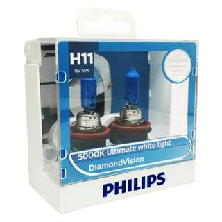 Philips H11 Diamond Vision White Light Bulbs, Pair