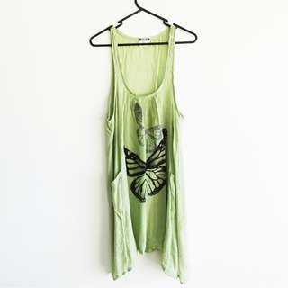 Green Boho Dress OS Open Size Butterfly