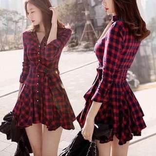 Red black checkered long dress