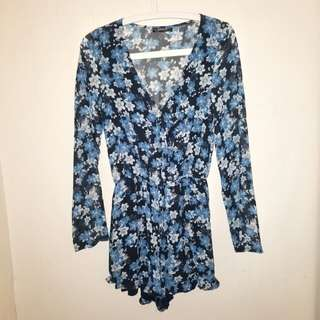 Cotton On Blue Floral Romper